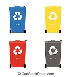 recycle trashcan set illustration