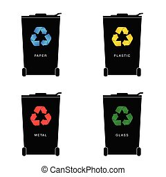 recycle trashcan set with icon on it illustration