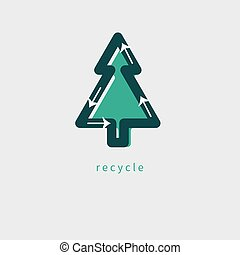 environmental protection icon - Recycle tree, environmental ...
