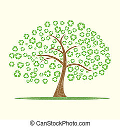 illustration of vector tree with recycle symbol as leaves