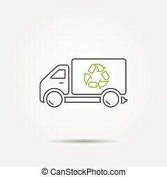 Recycle truck line icon