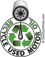 Illustration of a recycle symbol in green an oil filter dripping oil and the words Recycle Used Motor Oil.
