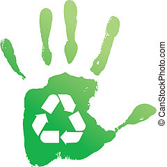 recycle., vecteur, handprint