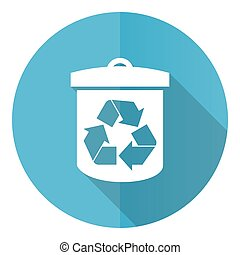 Recycle vector icon, flat design blue round web button isolated on white background