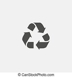 Recycle vector icon. Style is flat symbol, gray color,...