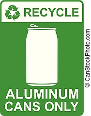 recycle vector sign - aluminum cans only