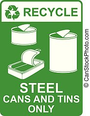recycle vector sign ? steel cans and tins only