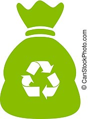 Recycle waste bag vector icon