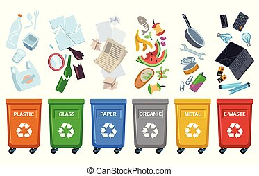 Recycle waste bins. Different trash types color containers sorting wastes organic trash paper can glass plastic bottle vector concept