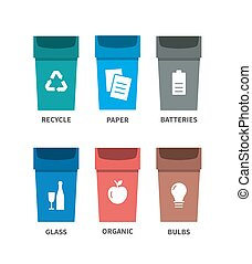 Recycle waste bins vector illustration