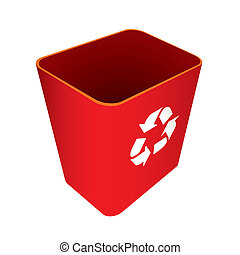Red Recycle trash can or bin with symbol