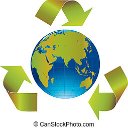 Recycled arrows - Green arrows around the world indicating...