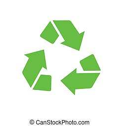 Recycled eco vector icon, cycle and triangle arrows in a flat style. Recycled green arrows eco sign. Vector illustration isolated on white background