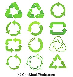 Recycled eco vector icon set, cycle and triangle arrows in a flat style. Recycled green arrows eco sign set. Vector illustration isolated on white background