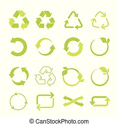 Recycled eco vector icon set, cycle and triangle arrows in a flat style.