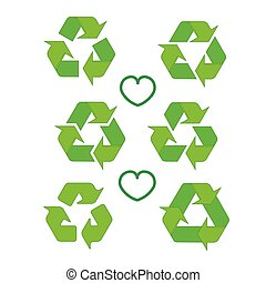 Recycled eco vector icon set. Recycle arrows ecology symbol. Recycled cycle arrow. Vector illustration isolated on white background.