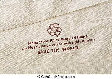 Recycled fibers napkin