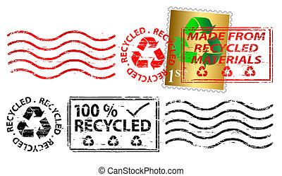 Recycled letter franking mark and stamp vector