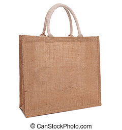 Recycled hessian sack shopping bag isolated on white - A...