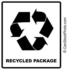 Recycled package symbol or sign of conservation black icon isolated on white background. Vector symbol on the packaging.