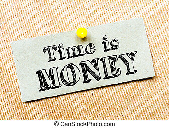 Recycled paper note pinned on cork board. Time is Money Message