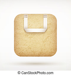 recycled paper shopping bag app icon on rounded corner square