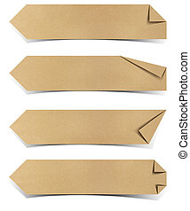 recycled paper tag craft stick on white background