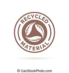 Recycled product icon design with circular leaves stamp symbol