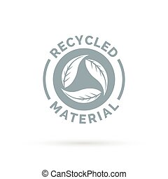 Recycled product material icon design with circular leaves symbol