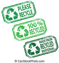 Rubber stamp vectors. Please recycle, 100% Recycled, and made form recycled material.