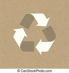 Recycled sign on reuse paper. Vector, EPS10