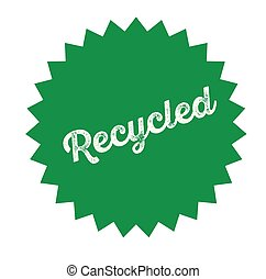 recycled stamp on white background . Sign, label sticker