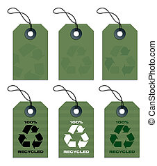 recycled tags green - six recycled hang tags in olive green