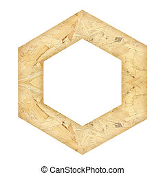 Recycled wooden frame isolated on white background