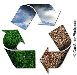 recyclend symbool, met, hemel, gras, en, aarde