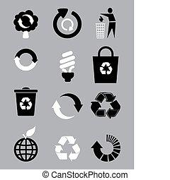 recycler, blanc, ensemble, balck, icône