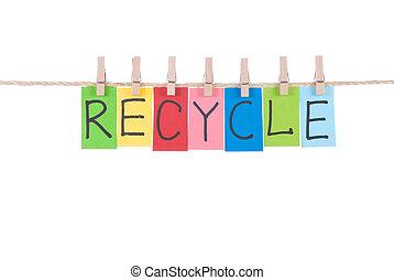 recycler, bois, pendre, cheville, mots