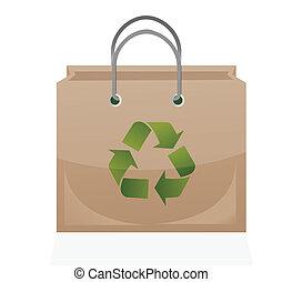 recycler, brun, symbole, sac papier