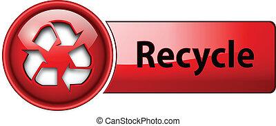 recycler, button., icône