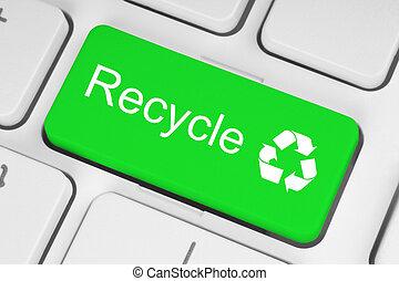 recycler, concept, sur, vert, clavier, bouton