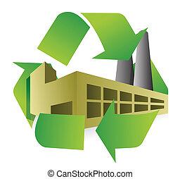 recycler, conception, usine, illustration