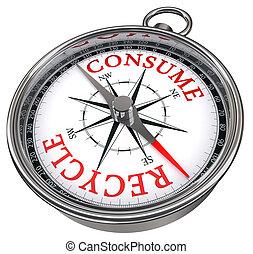 recycler, contre, concept, consommer, compas