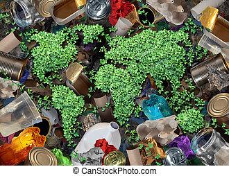 recycler, déchets ménagers, et, les, environnement