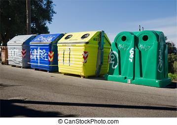 recycler, déchets, récipients