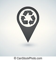 recycler, emplacement, icon., recycler, carte, pointer., vecteur, illustration.