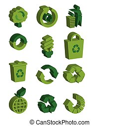 recycler, ensemble, 3d, icône
