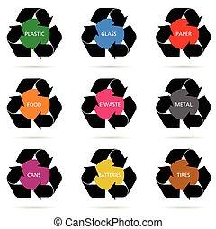 recycler, ensemble, illustration, signe