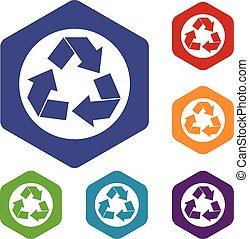 recycler, ensemble, signe, icônes