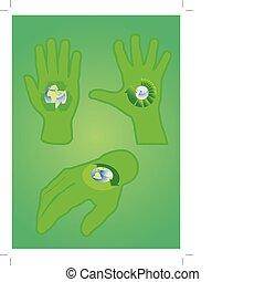 recycler, ensemble, signes main