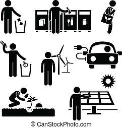 recycler, environnement, vert, homme